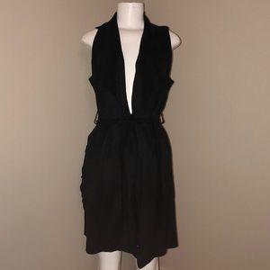 Zara M black suede vest